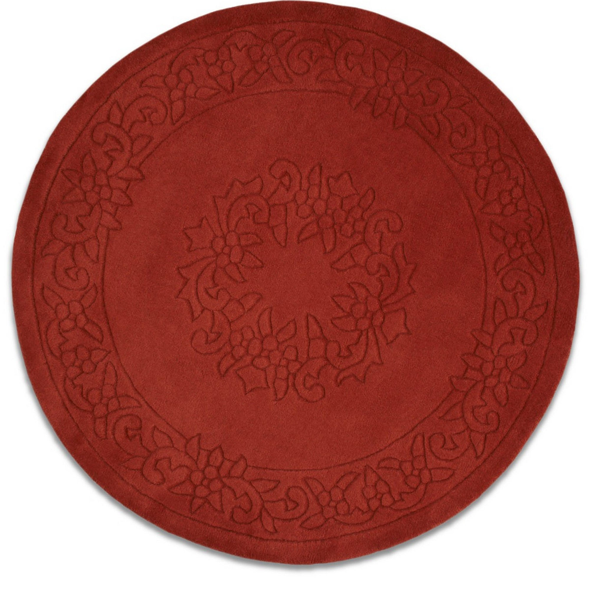 Royale Circular Rugs - Traditional Indian Wool in Rust