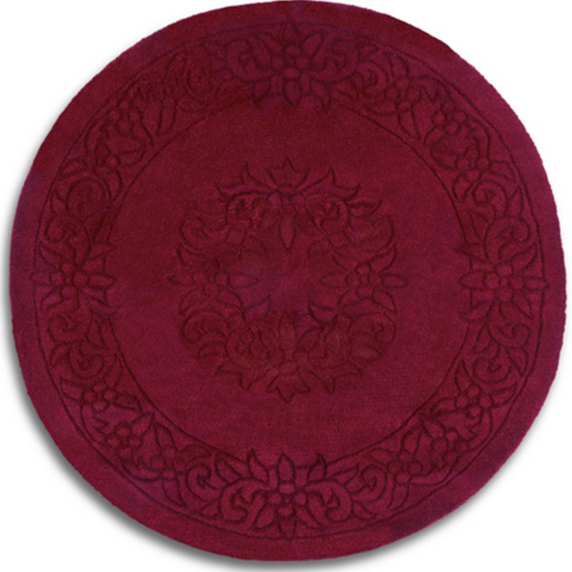 Royale Circular Rugs - Traditional Indian Wool in Wine