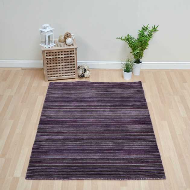 Seasons Loom Knotted Striped Wool Rugs SEA01 in Lilac