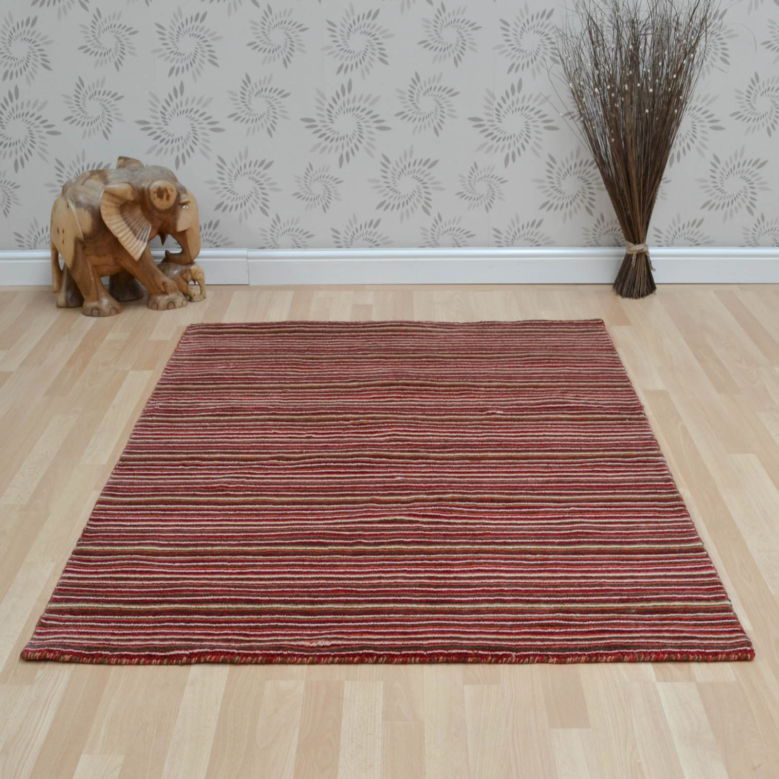 Seasons Loom Knotted Striped Wool Rugs SEA03 in Red