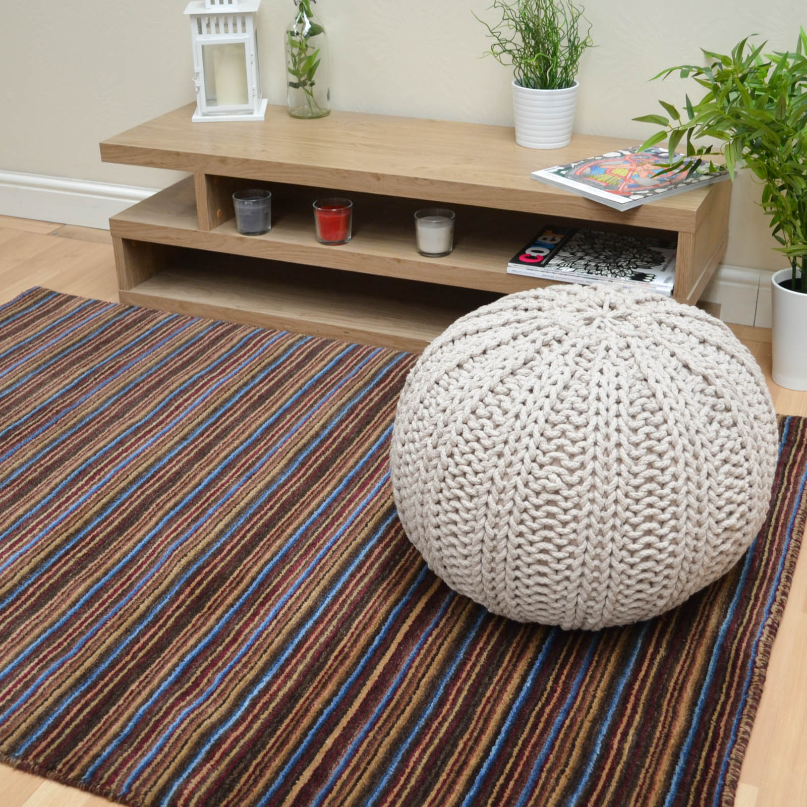 Seasons Loom Knotted Striped Wool Rugs SEA04 in Multi