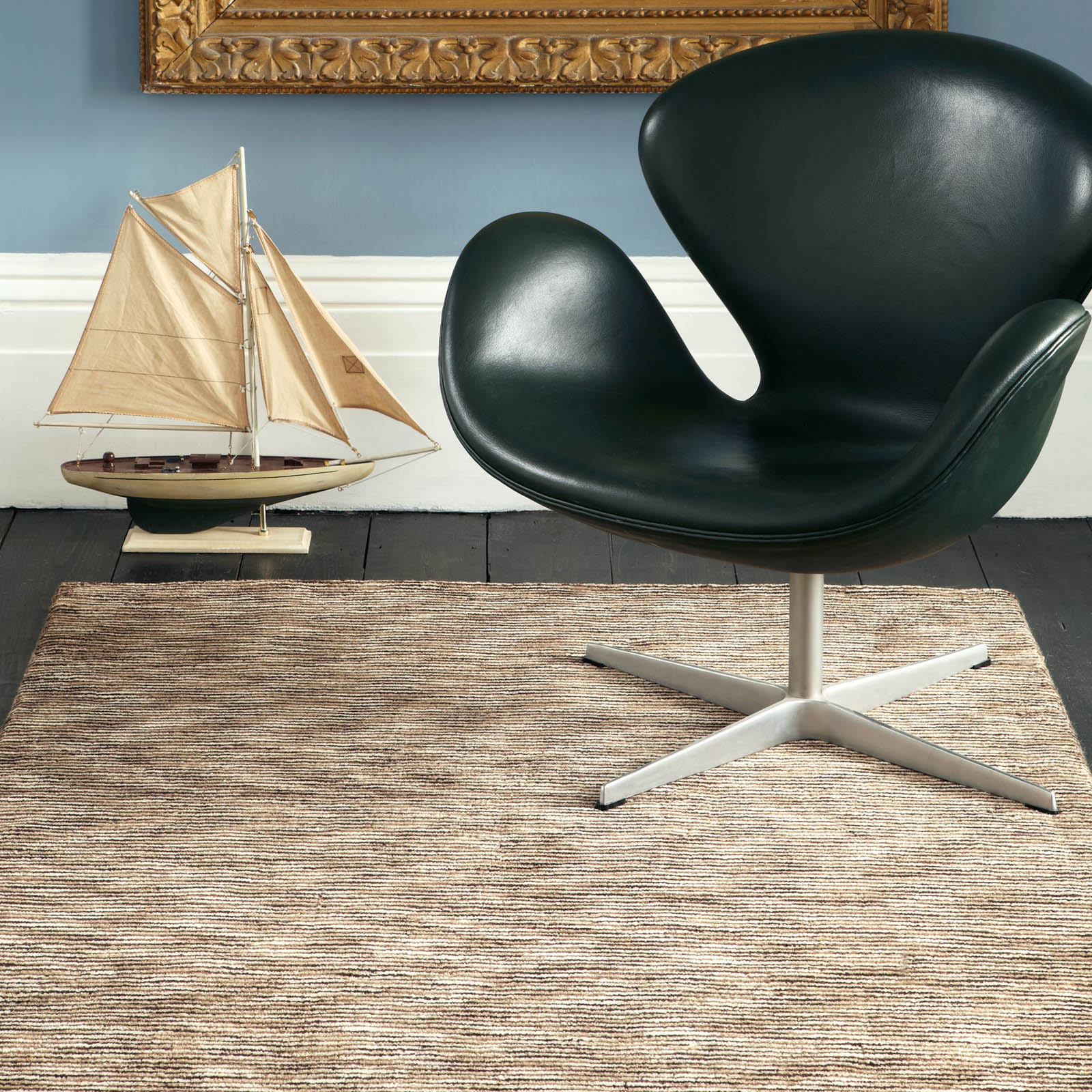 Seasons Loom Knotted Striped Wool Rugs SEA05 in Natural