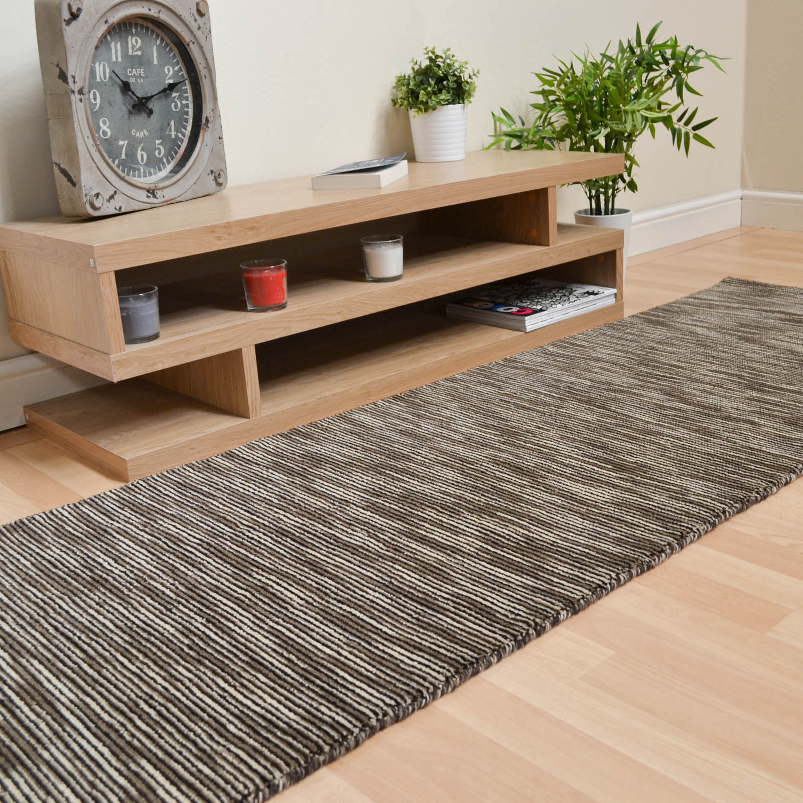 Seasons Loom Knotted Striped Wool Runners SEA05 in Natural