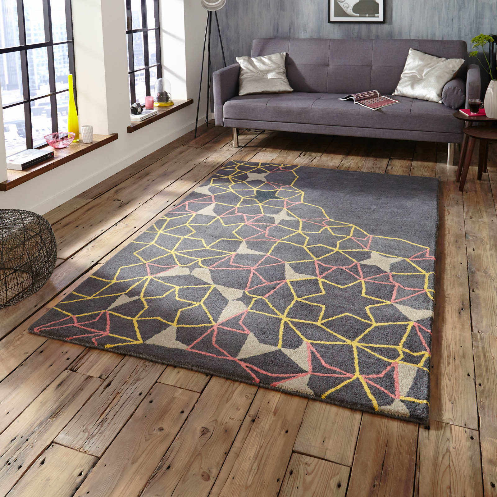 Spectrum SP37 Rugs In Grey Yellow Pink