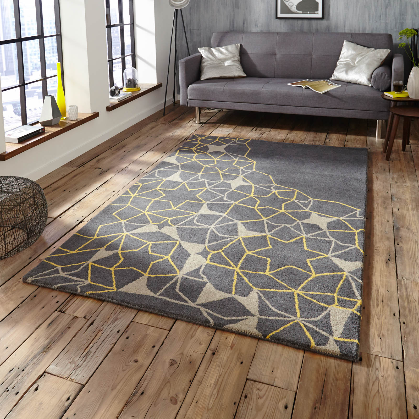 Spectrum SP37 Rugs In Grey Yellow