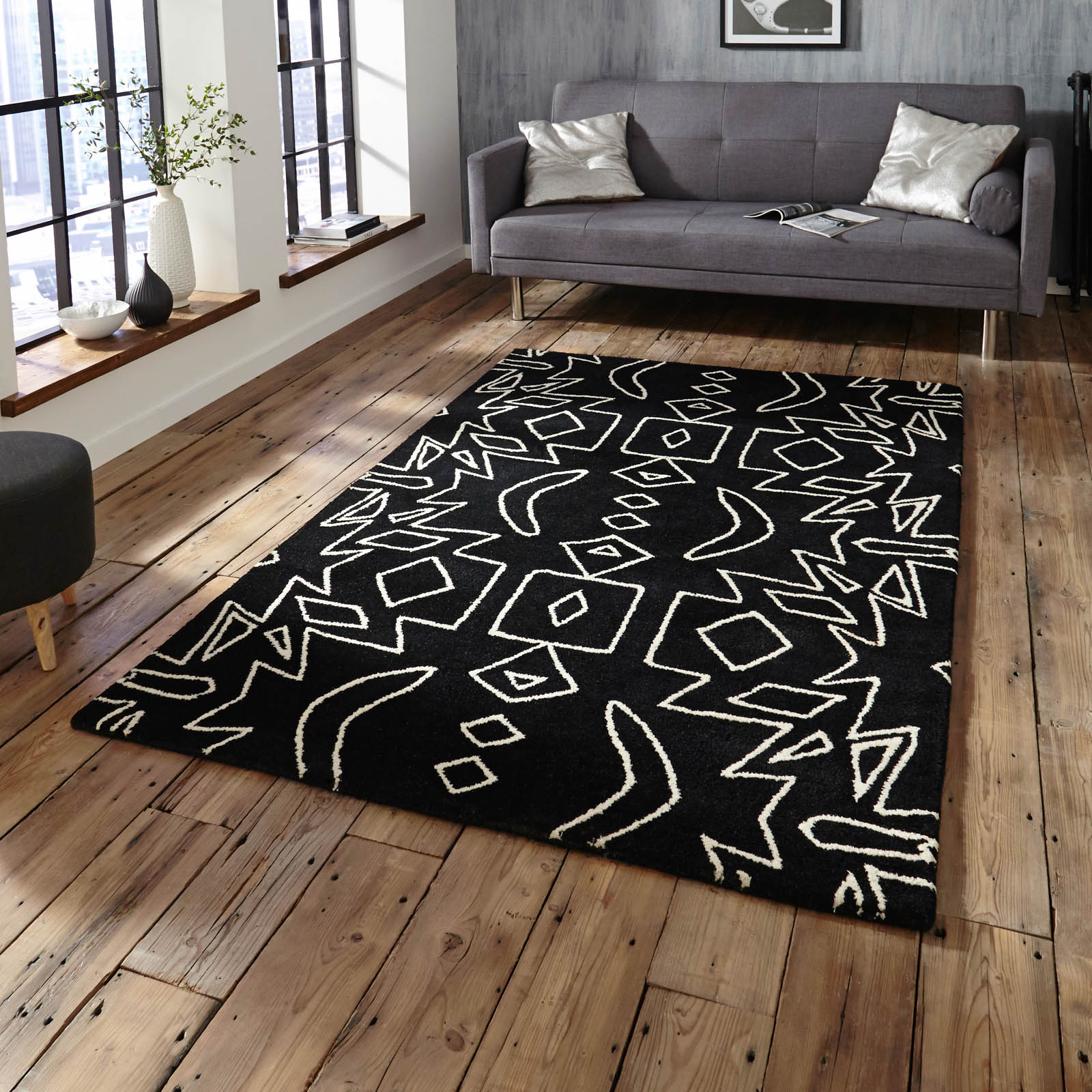 Spectrum SP41 Rugs in Black White