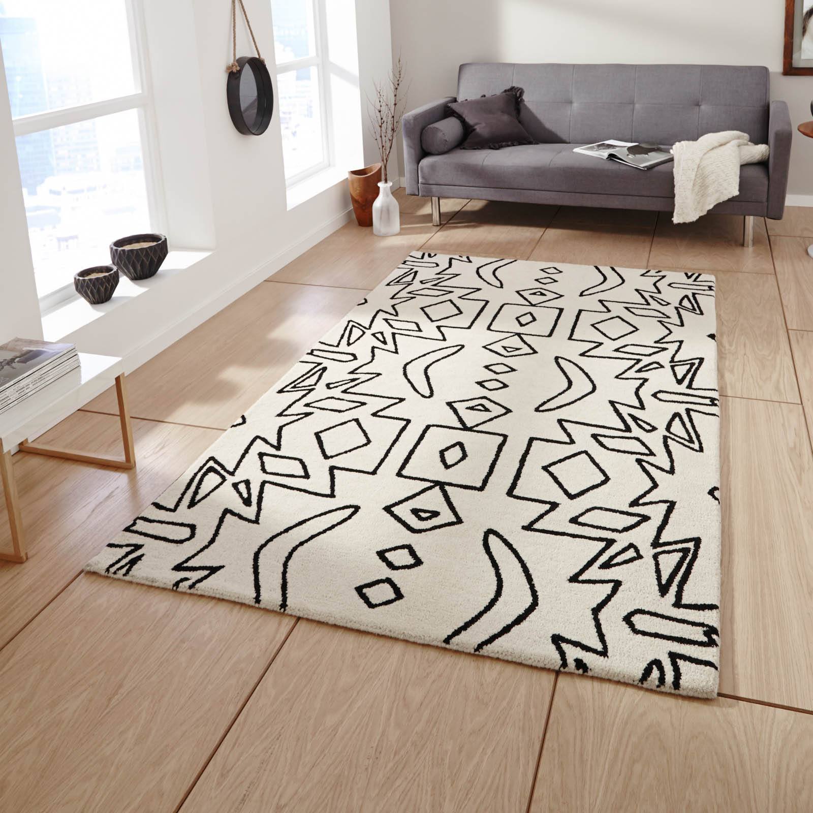 Spectrum SP41 Rugs in White Black