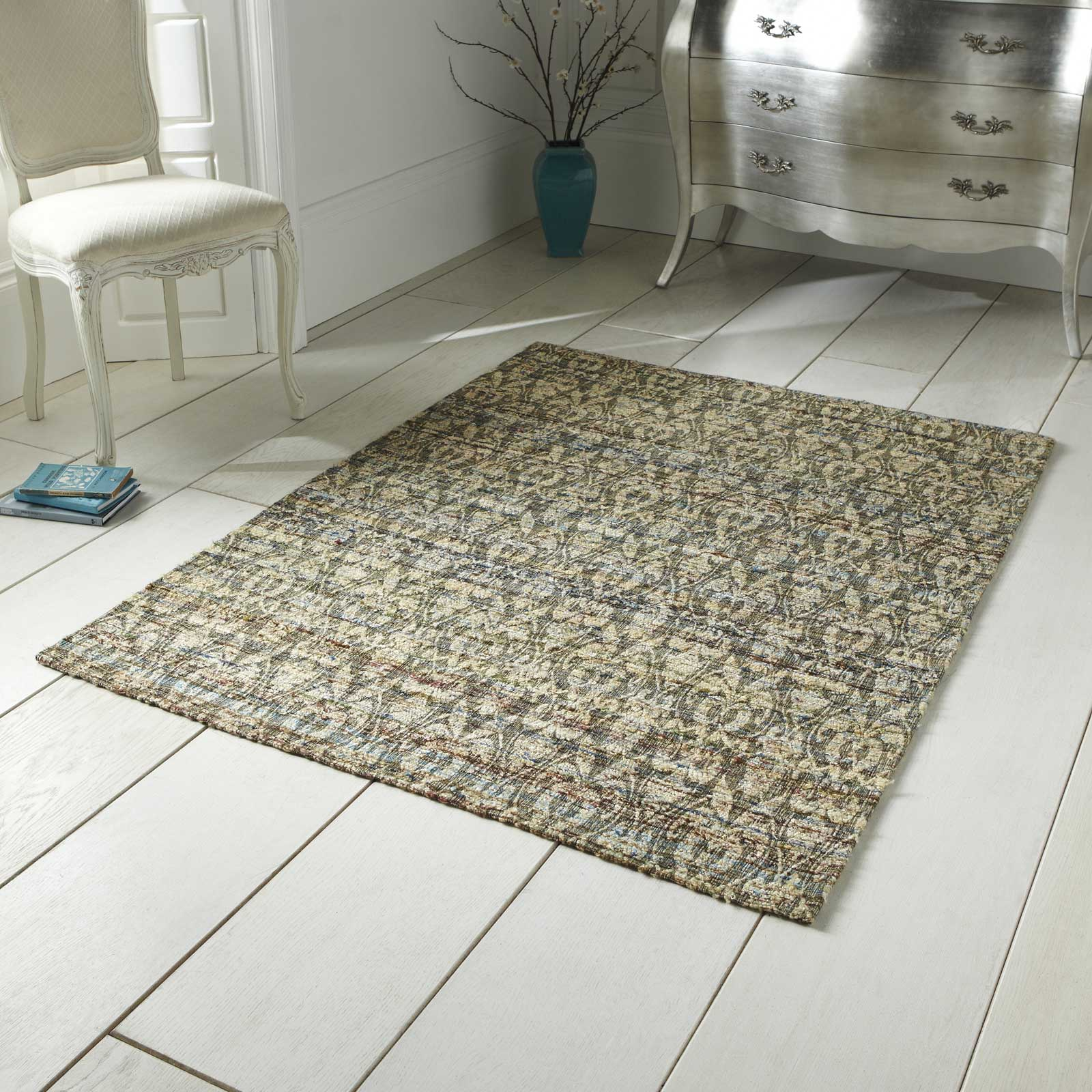 Satin Rugs ST10 Hand Made Indian Silk in Beige