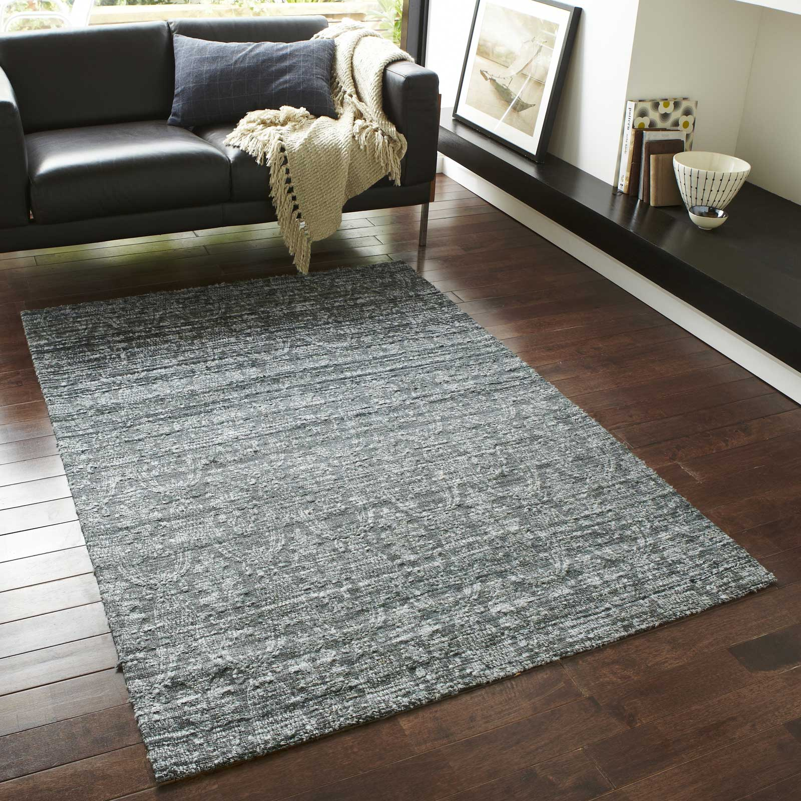 Satin Rugs ST10 Hand Made Indian Silk in Grey