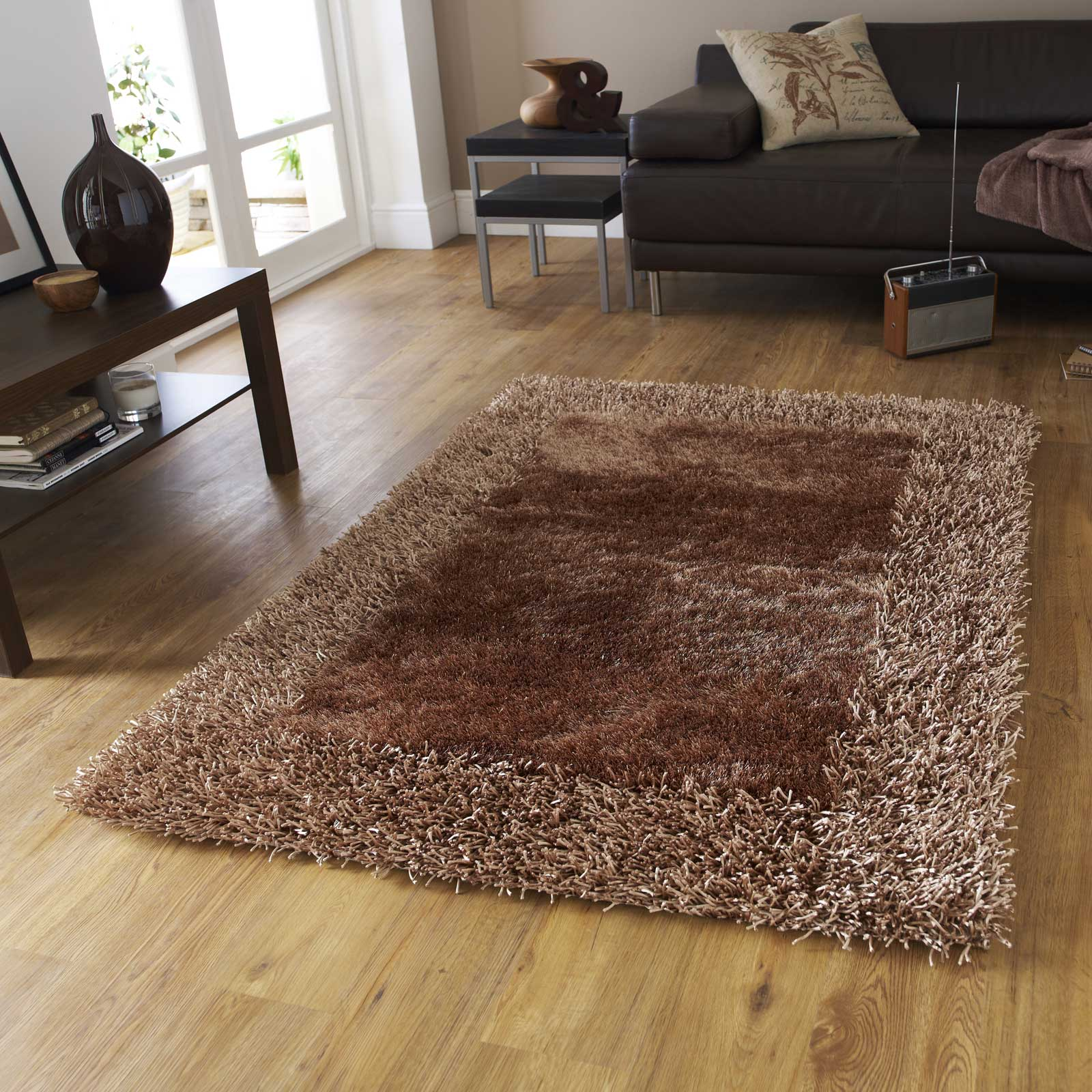 Sable Two Shiney Shaggy Rugs in Beige