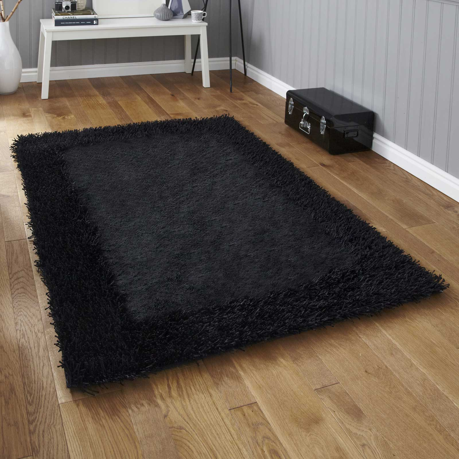 Sable Two Shiney Shaggy Rugs in Black