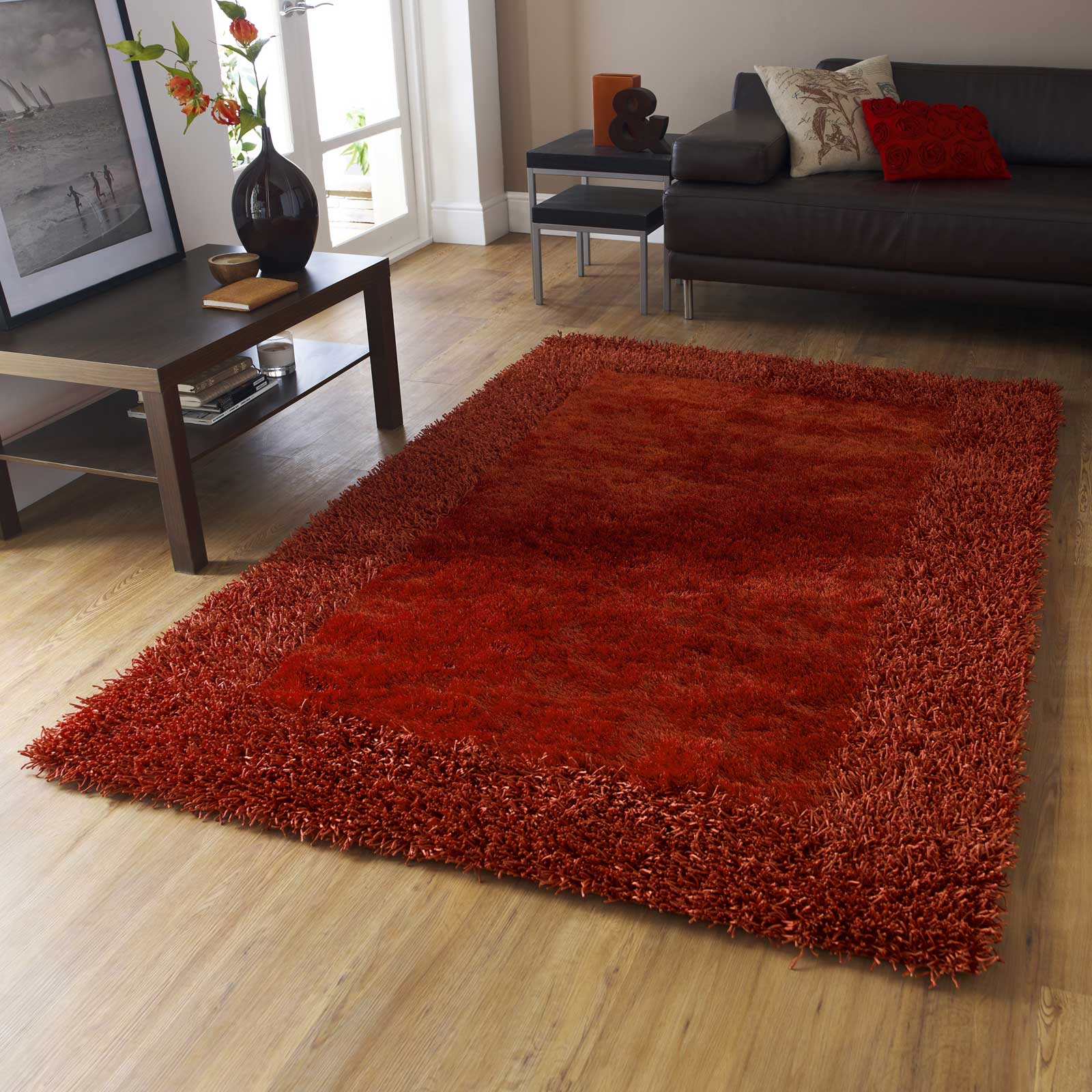 Superior Sable Two Shiney Shaggy Rugs In Burnt Orange