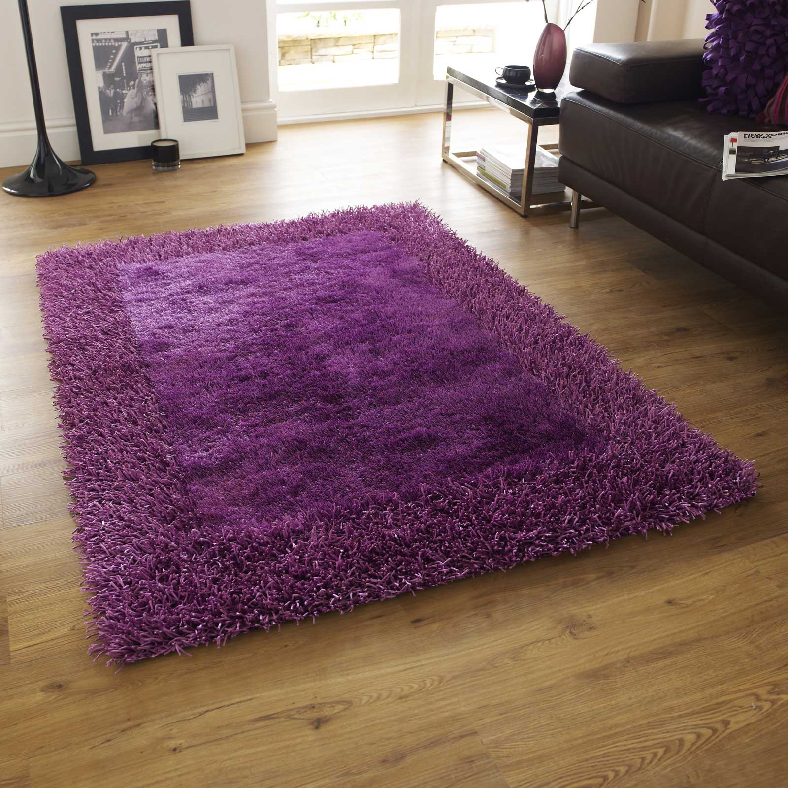 Sable Two Shiney Shaggy Rugs in Purple