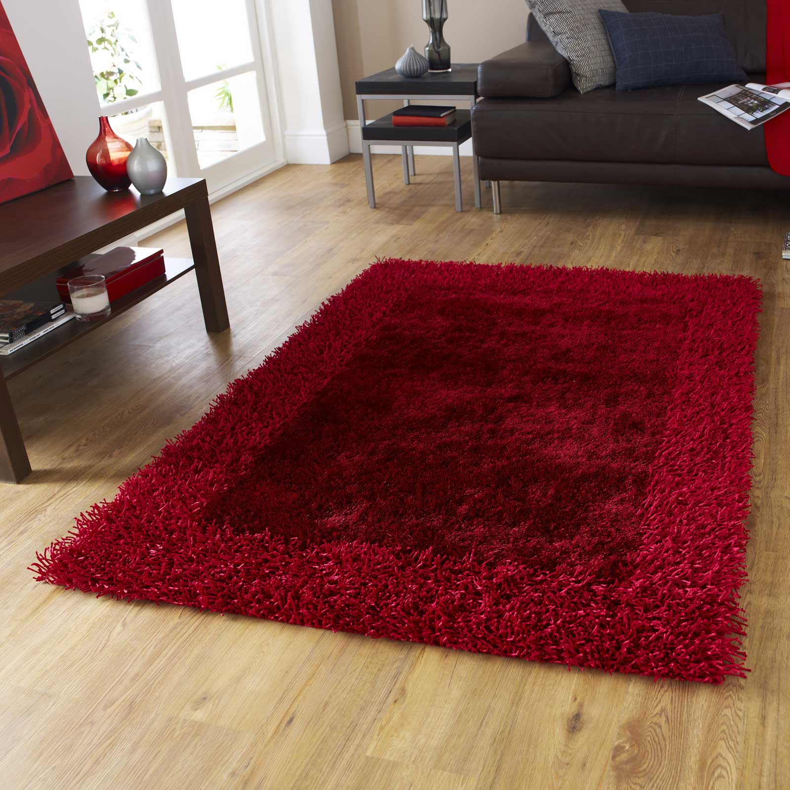 Sable Two Shiney Shaggy Rugs in Red