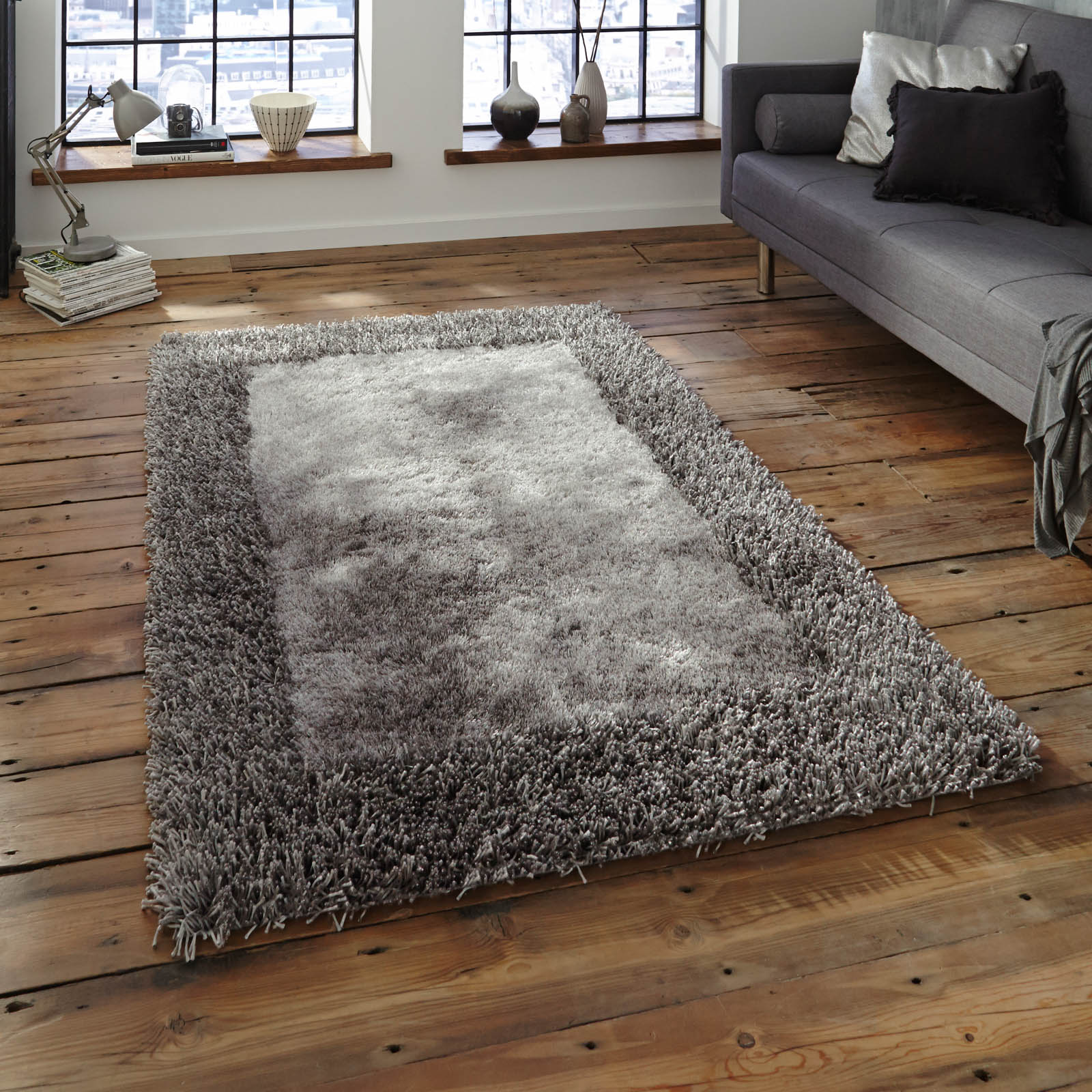 sable two shiney shaggy rugs in silver 90x150cm reviews sear