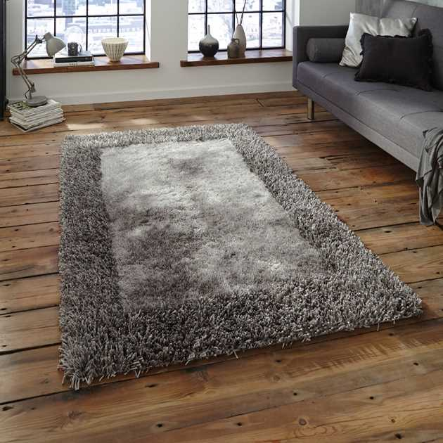 Sable Two Shiney Shaggy Rugs in Silver