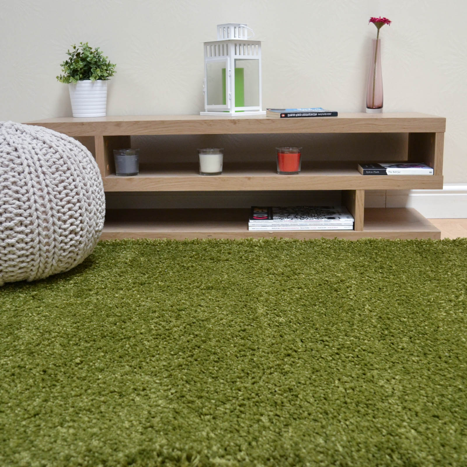 Savanna Shaggy Rugs in Green