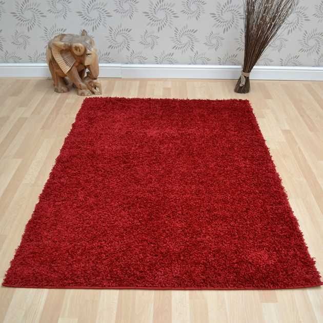 Savanna Shaggy Rugs in Red