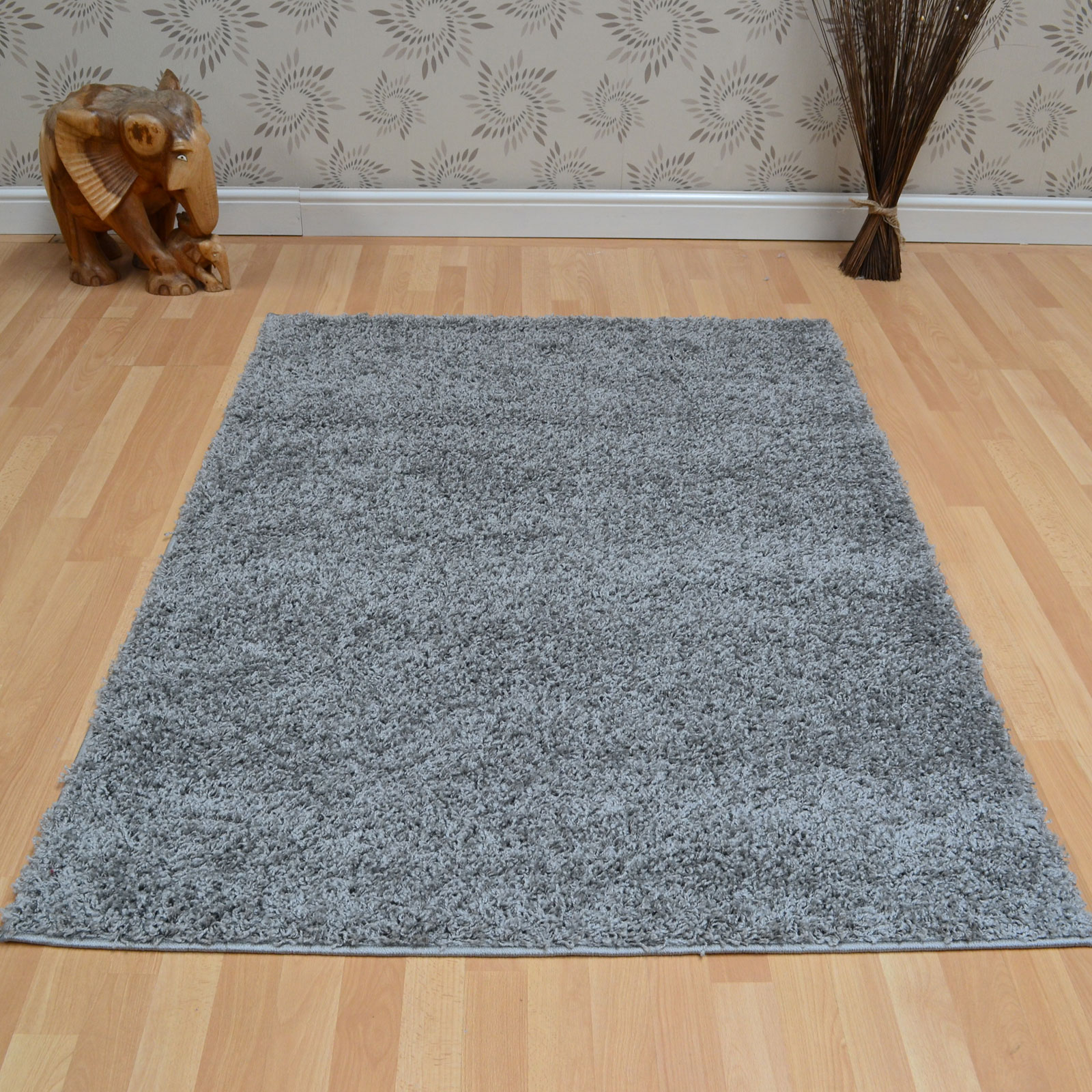 Savanna Shaggy Rugs in Silver