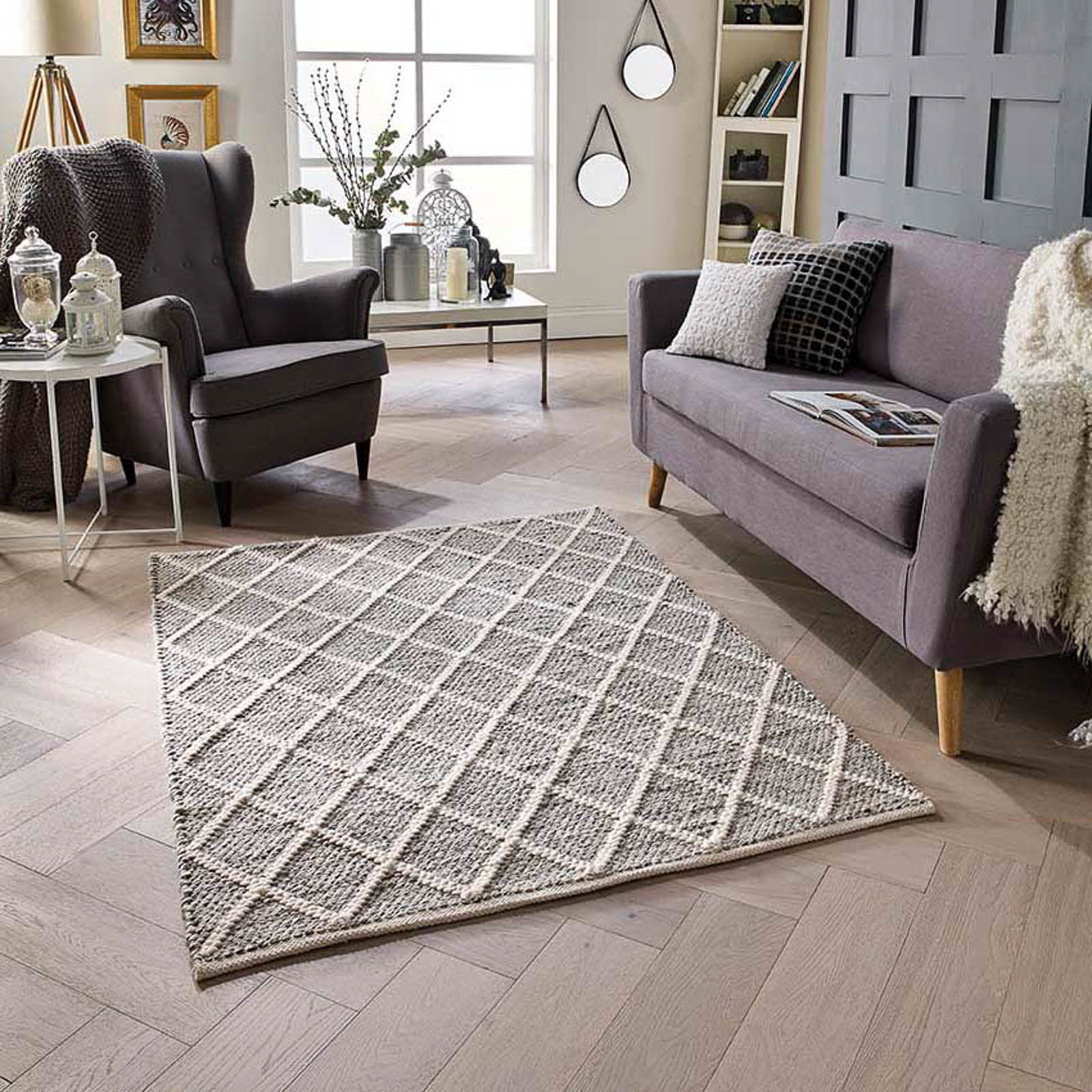 savannah trellis rug in grey free uk delivery the rug seller