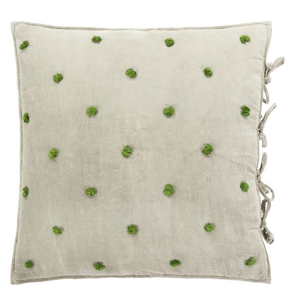 Sevanti Rectangular Quilted Cushion With Pom Poms - Dove