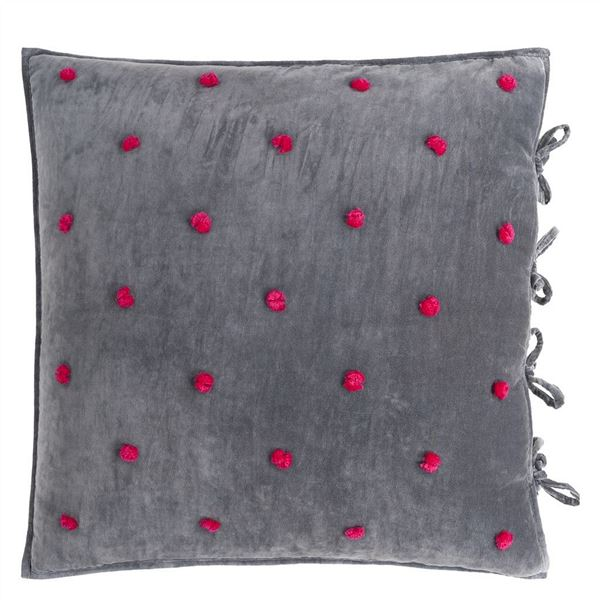 Sevanti Rectangular Quilted Cushion With Pom Poms - Graphite