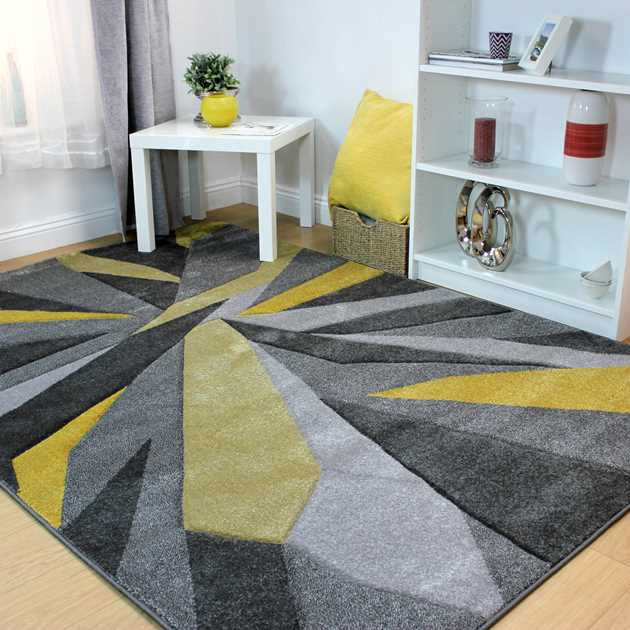 Shatter Rugs in Ochre and Grey