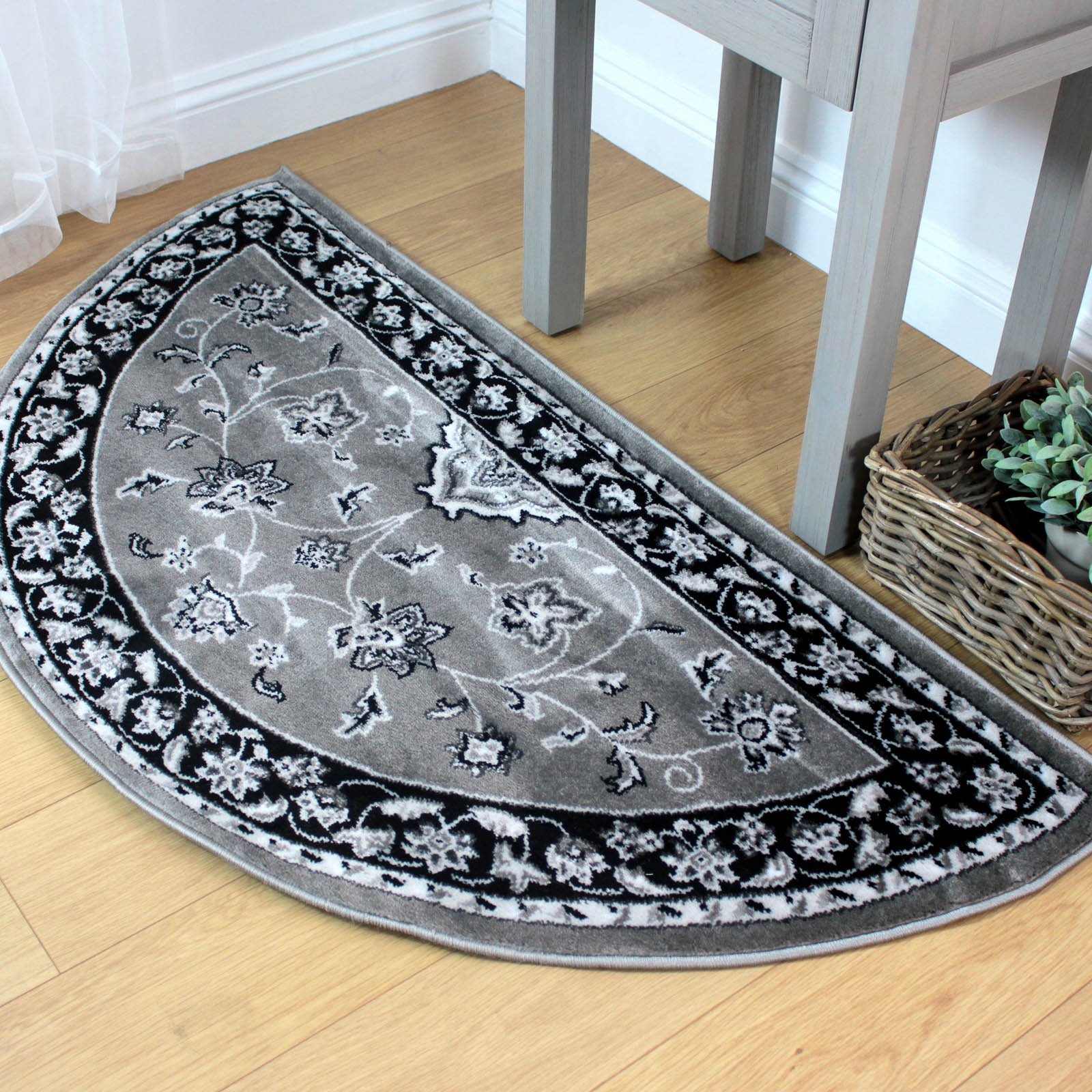 Sherborne Traditional Half Moon Rugs in Grey