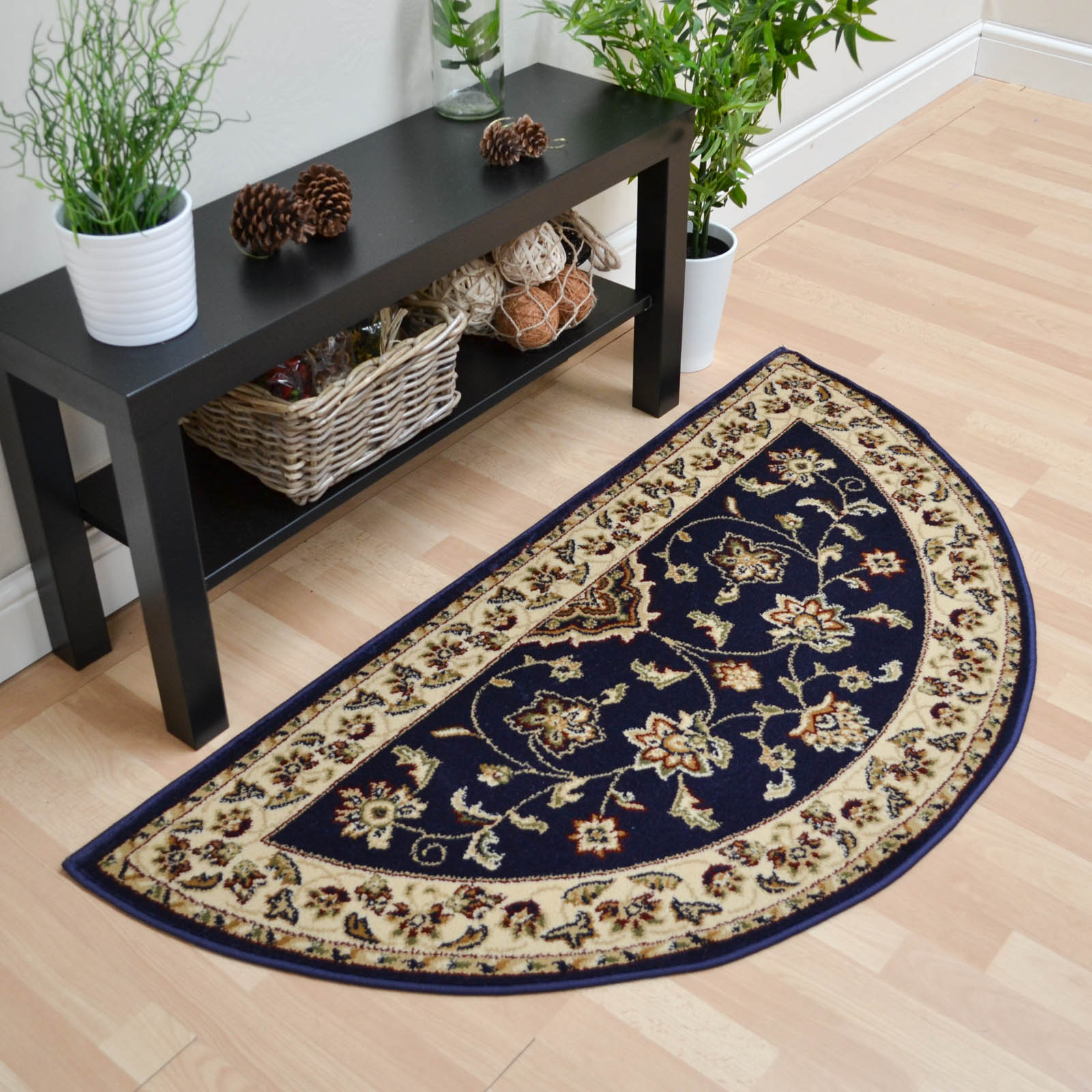 Sherborne Traditional Half Moon Rugs in Navy Blue