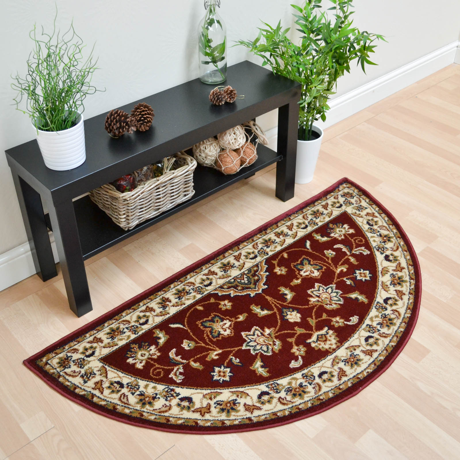 Sherborne Traditional Half Moon Rugs in Red