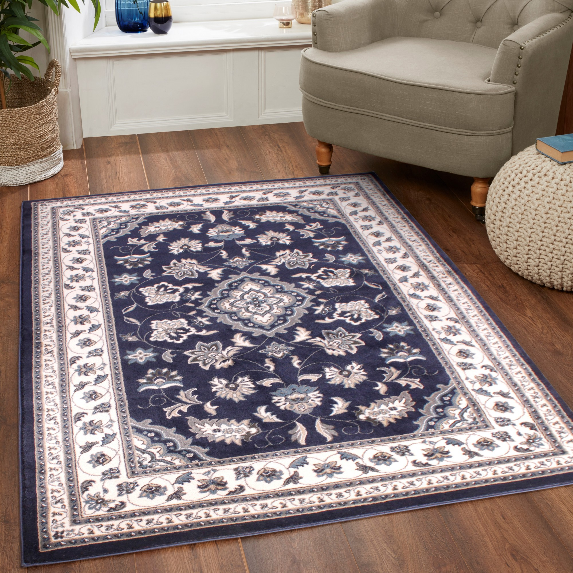 Sherborne Traditional Rugs in Navy Blue