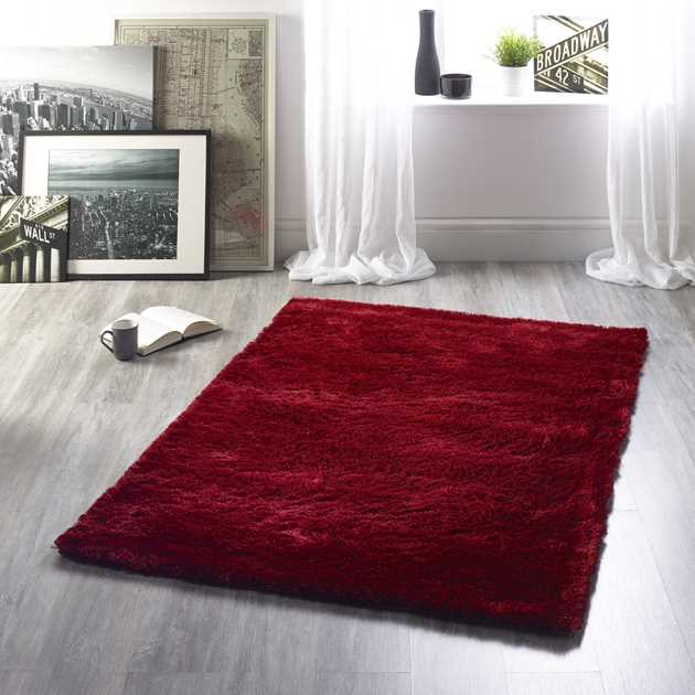 Shimmer Shaggy Rugs in Red