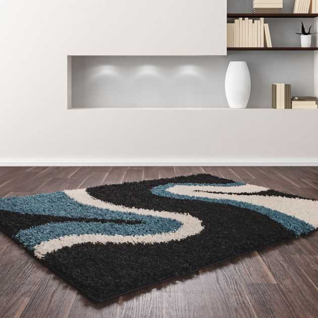 Sienna Ripple Rugs in Teal and Black