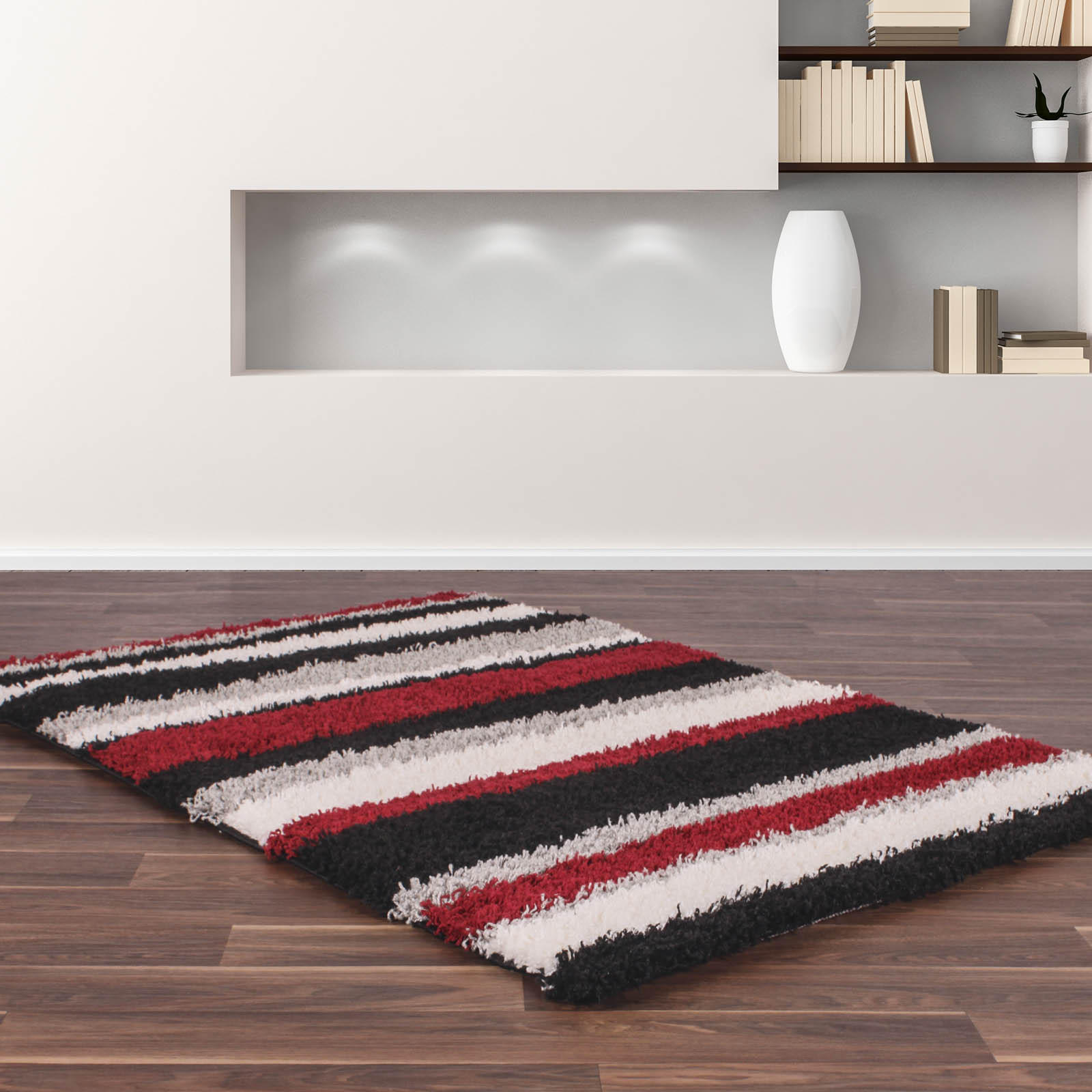 Sienna Stripe Shaggy Rugs in Black and Red