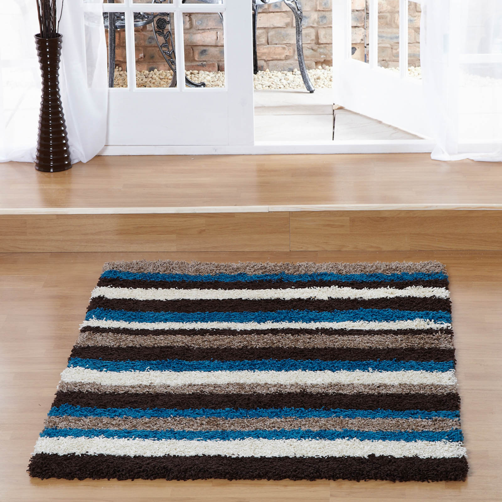 Sienna Stripe Shaggy Rugs in Chocolate and Blue