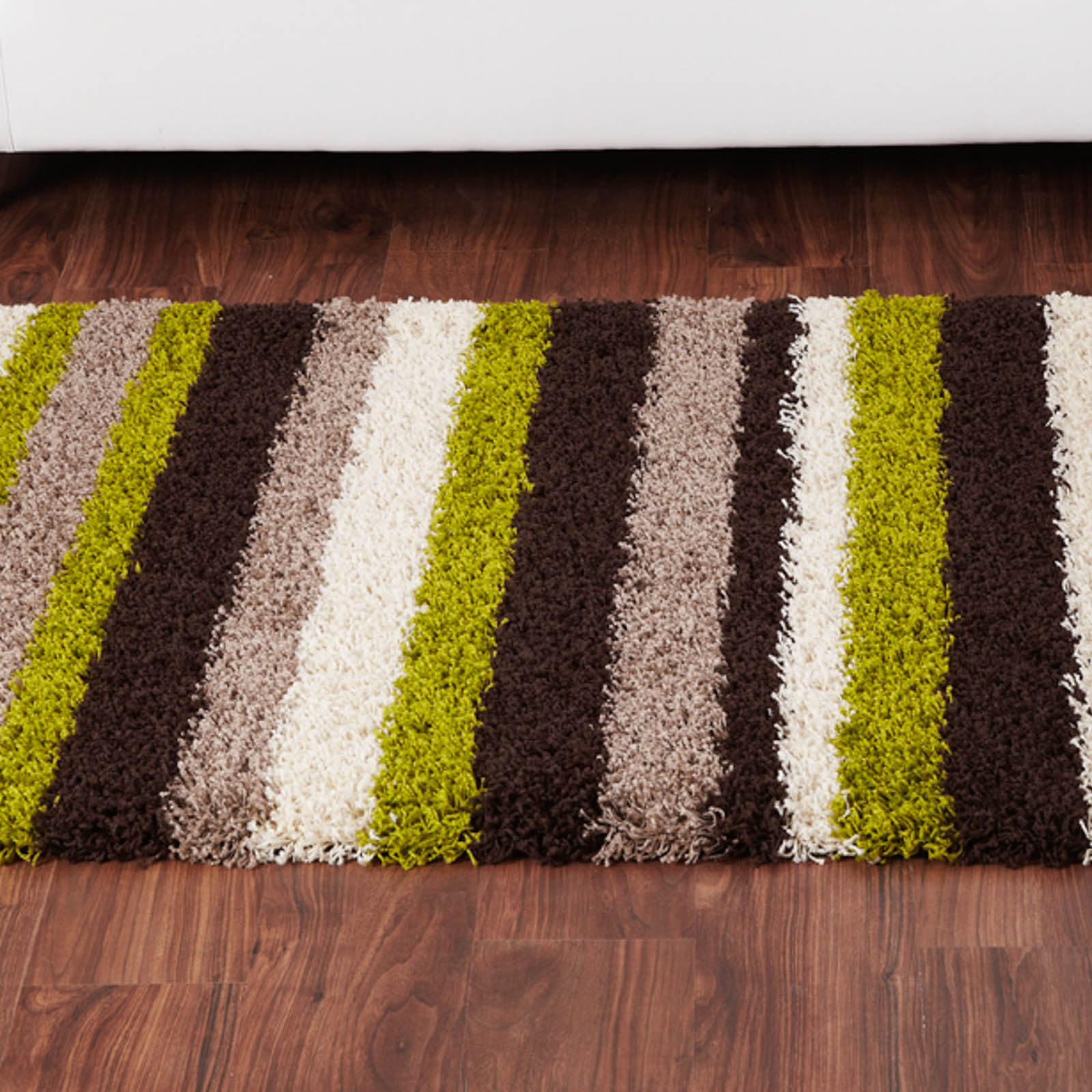 Sienna Stripe Shaggy Rugs in Chocolate and Green