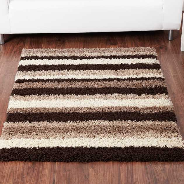 Sienna Stripe Shaggy Rugs in Chocolate and Natural