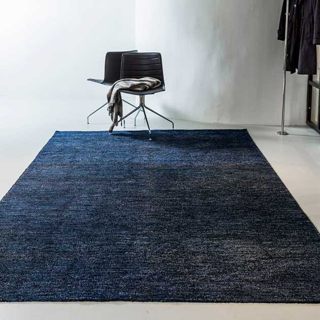 Silk Rugs in Black and Blue by Massimo