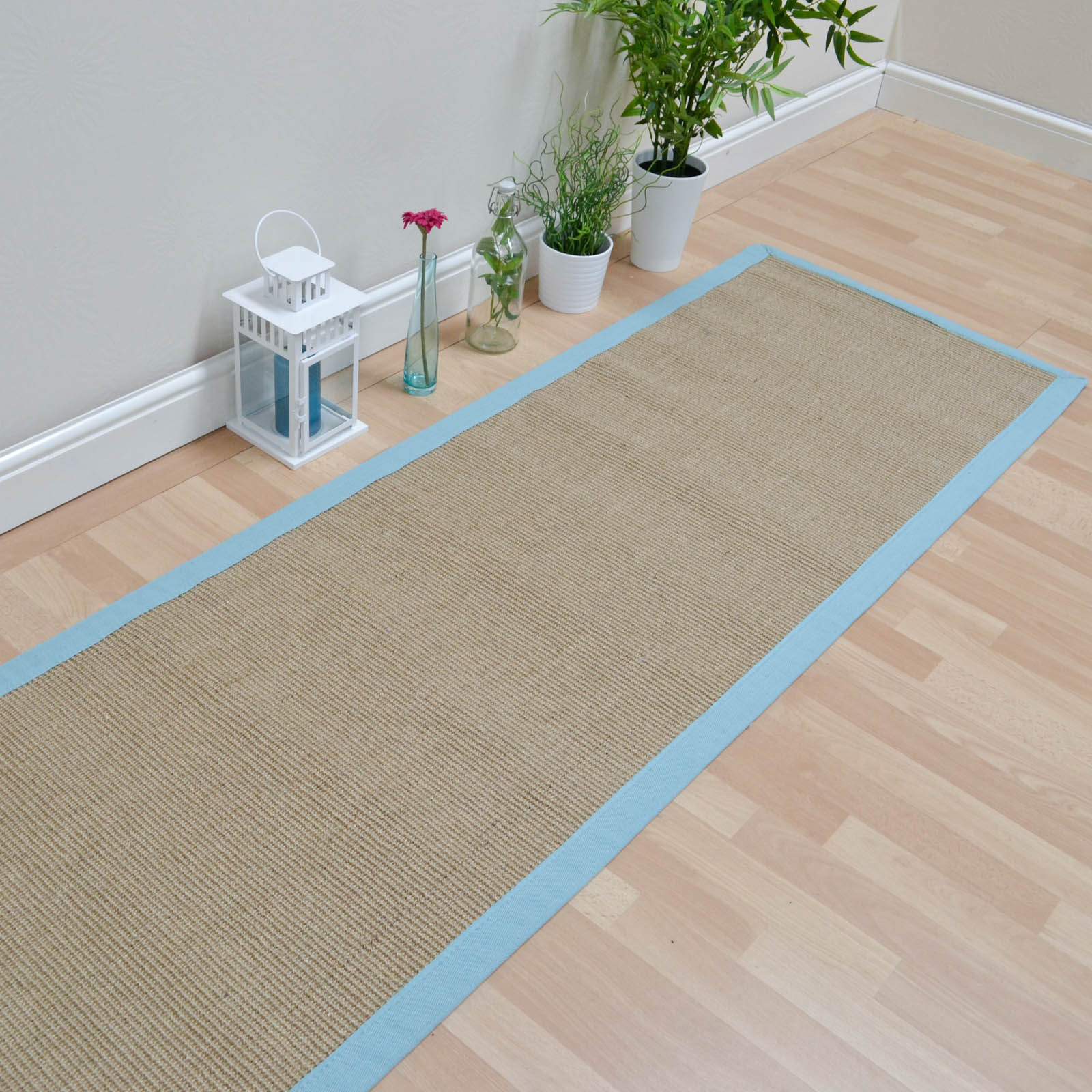 Sisal Hallway Runners in Linen with an Aqua Border