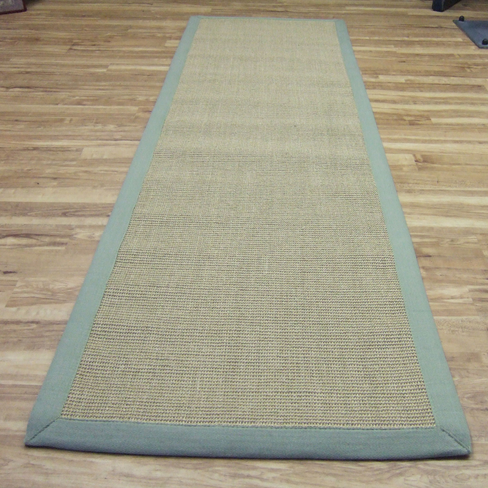 Runner Rugs Uk: Sisal Hallway Runners In Linen With A Sage Green Border