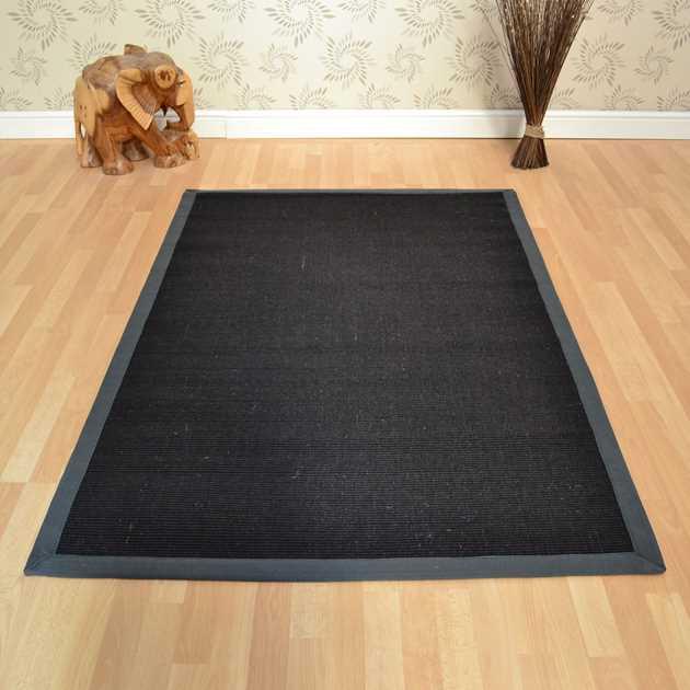 Washable Sisal Look Rugs: Sisal Rugs In Black Grey