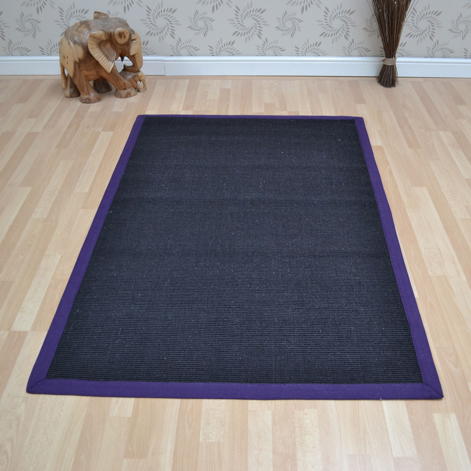 Sisal Rugs in Black Purple