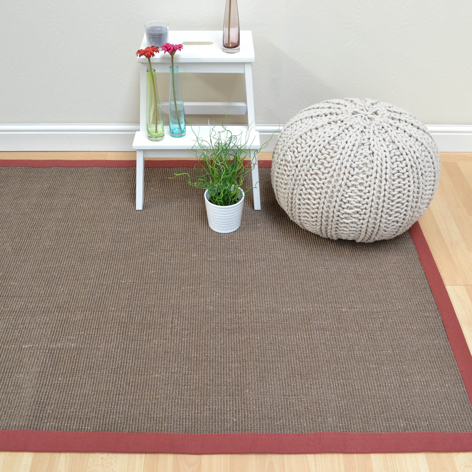 Sisal Rugs in Mocha with a Marsala Border