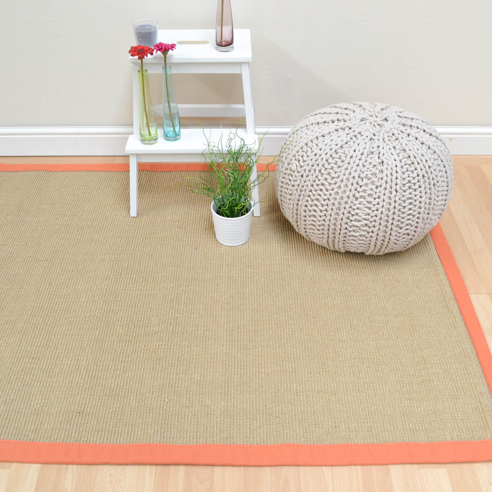 Sisal Rugs in Linen with an Orange Border