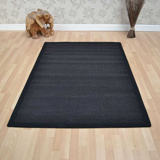Sisal Rugs In Plain Black Free Uk Delivery The Rug Seller