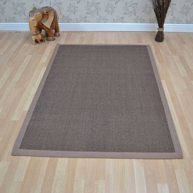 Sisal Rugs in Mocha with Taupe Border