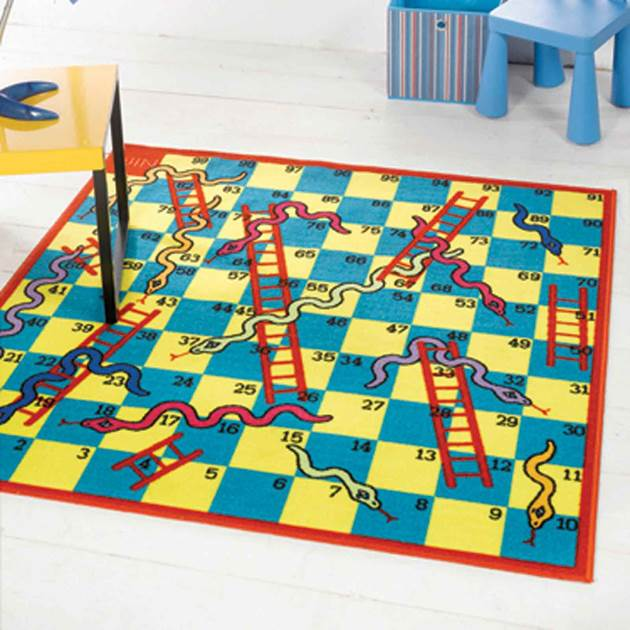 Washable Play Rugs: Matrix Snakes And Ladders Washable Rug