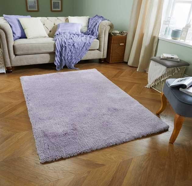 Softness Shaggy Rugs in Lilac