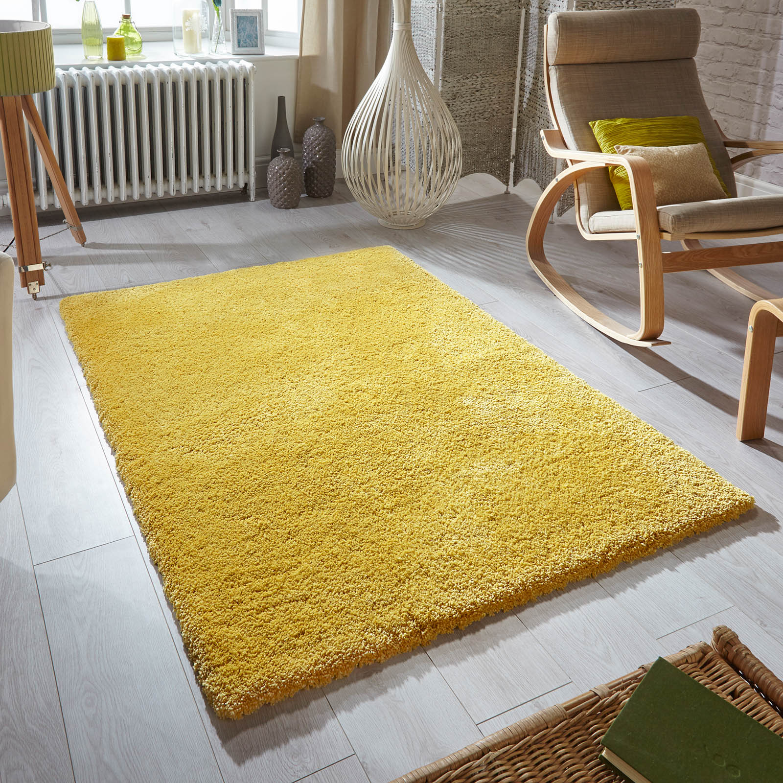 Softness Shaggy Rugs In Mustard