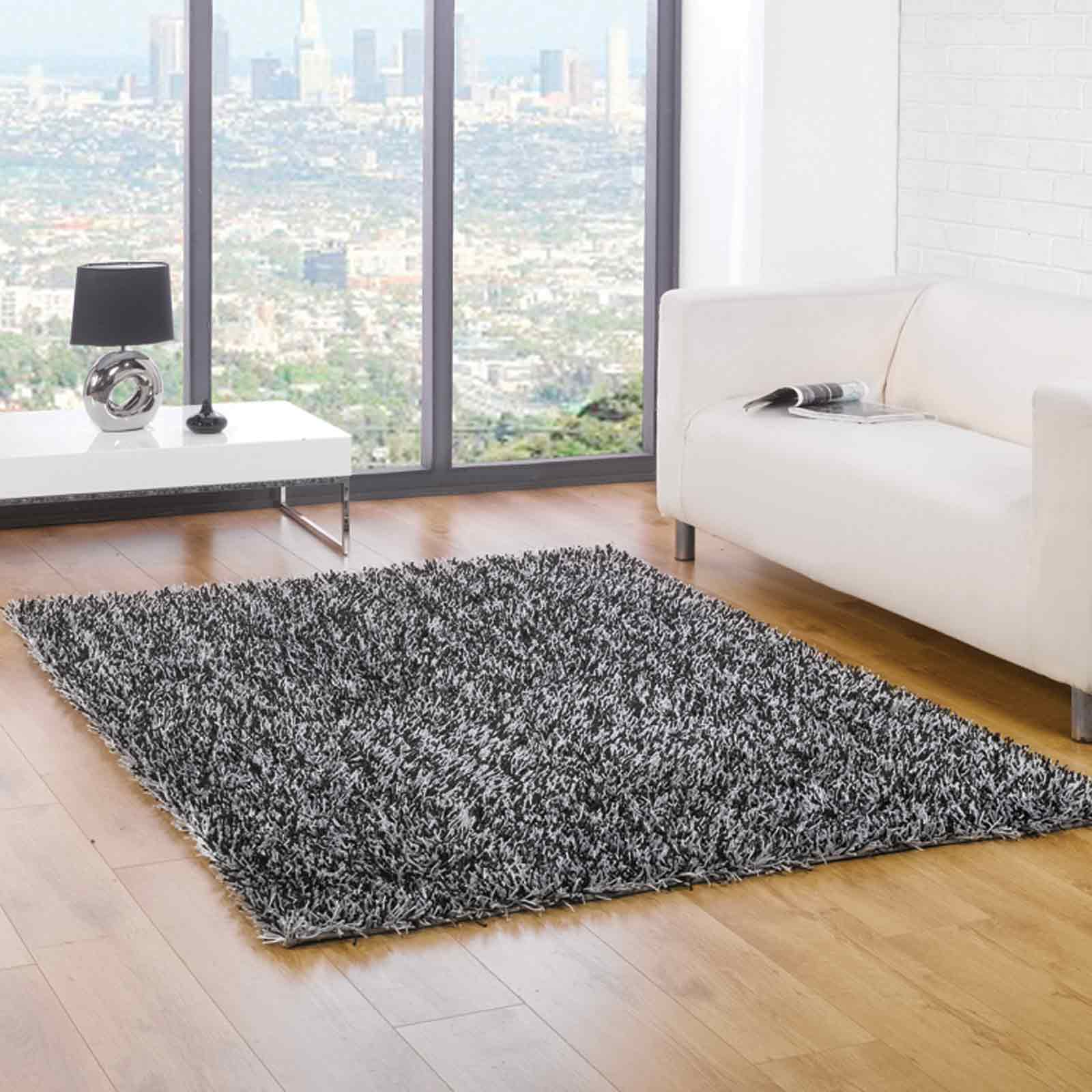 Spider Shaggy Rugs in Black Silver